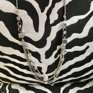 Jewelry - Long multi strand silver and crystal necklace